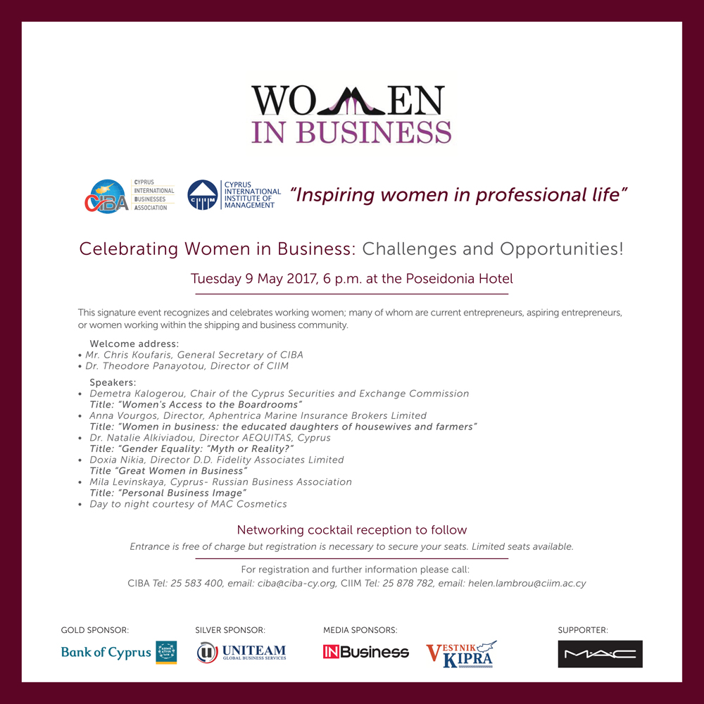 Celebrating Women in Business- Challenges and Opportunities cyprus cyprusinno