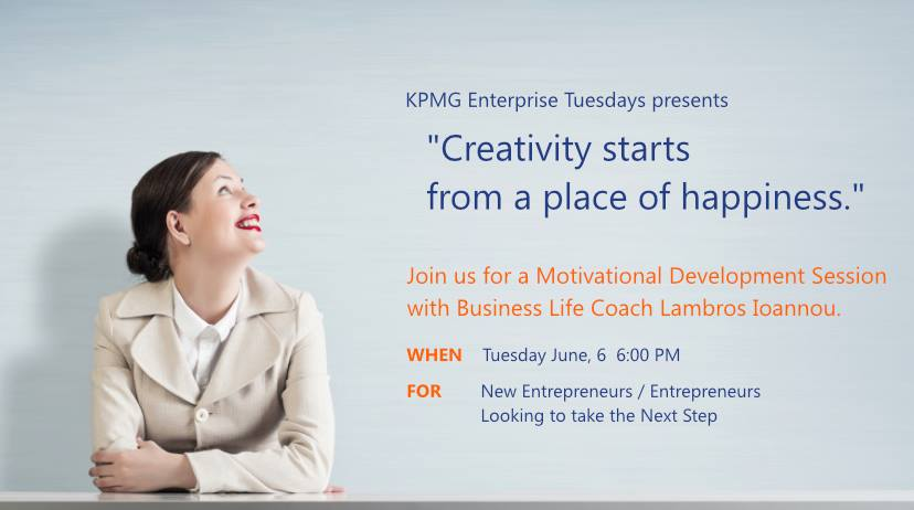 KPMG Enterprise Tuesdays- Motivational Development Session - Redefine Your Happiness Rules cyprus cyprusinno