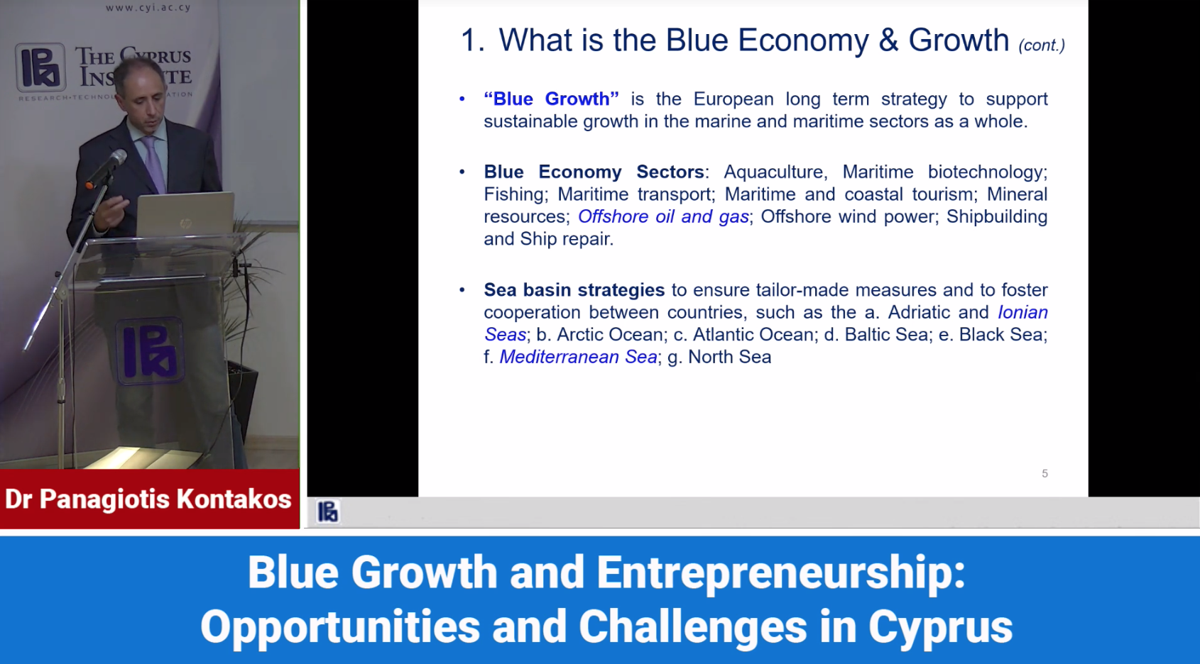 Blue Growth and Entrepreneurship Opportunities and Challenges in Cyprus cyprusinno event events